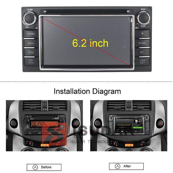 6,2 Navigator-Auto-DVD-Spieler-Radio IPod Zoll-Digital-Touch Screen Toyotas DVD GPS